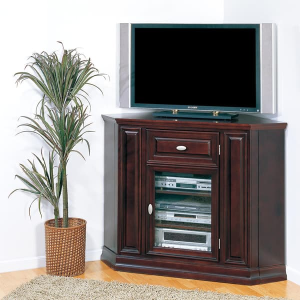Shop Chocolate Cherry Corner Tv Stand Free Shipping Today