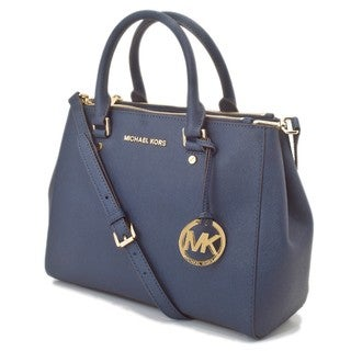 Michael Kors Sutton Medium Navy Satchel Handbag