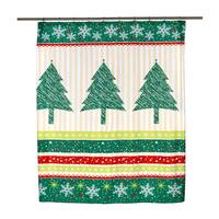 """14-piece Christmas """"Tanembaum"""" Holiday Themed Shower Curtain Ensemble"""