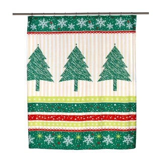 "14-piece Christmas ""Tanembaum"" Holiday Themed Shower Curtain Ensemble"