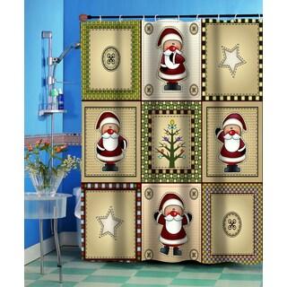 """Americana Holiday"" Christmas Themed Fabric Shower Curtain"
