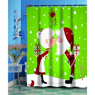 Kissing Claus' Christmas Themed Holiday Fabric Shower Curtain|https://ak1.ostkcdn.com/images/products/10814093/P17859152.jpg?impolicy=medium