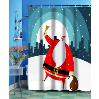 Santa in the City Christmas Themed Holiday Fabric Shower Curtain