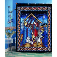 Silent Night Christmas Themed Holiday Fabric Shower Curtain