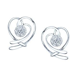 14k White Gold 1/4ct TDW Heart Diamond Earrings