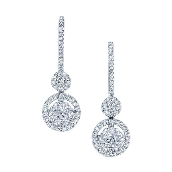 Shop 14k White Gold 1ct TDW Diamond Pave Drop Earrings ...