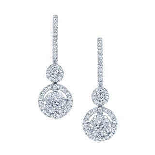 14k White Gold 1ct TDW Diamond Pave Drop Earrings (H-I, SI1-SI2)