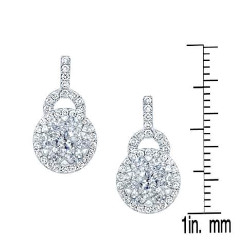 14k White Gold 1 1/2ct TDW Diamond Stud Drop Earrings