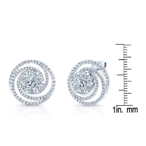 14k White Gold 2 1/2ct TDW Phychedelic Diamond Earrings
