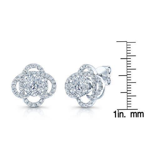 14k White Gold 1ct TDW Diamond Overpass Earrings