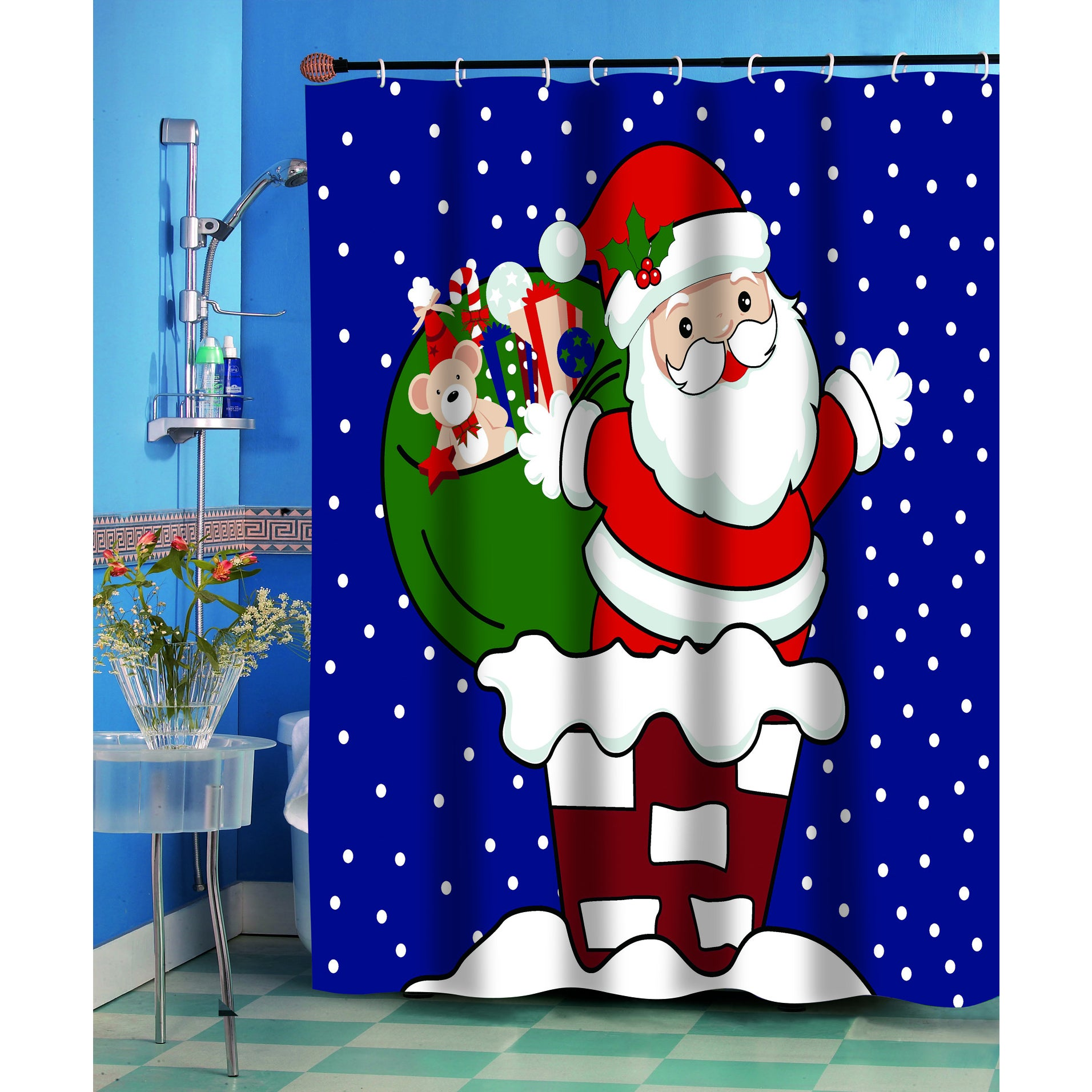 Up On The Rooftop Christmas Themed Holiday Fabric Shower Curtain Multi