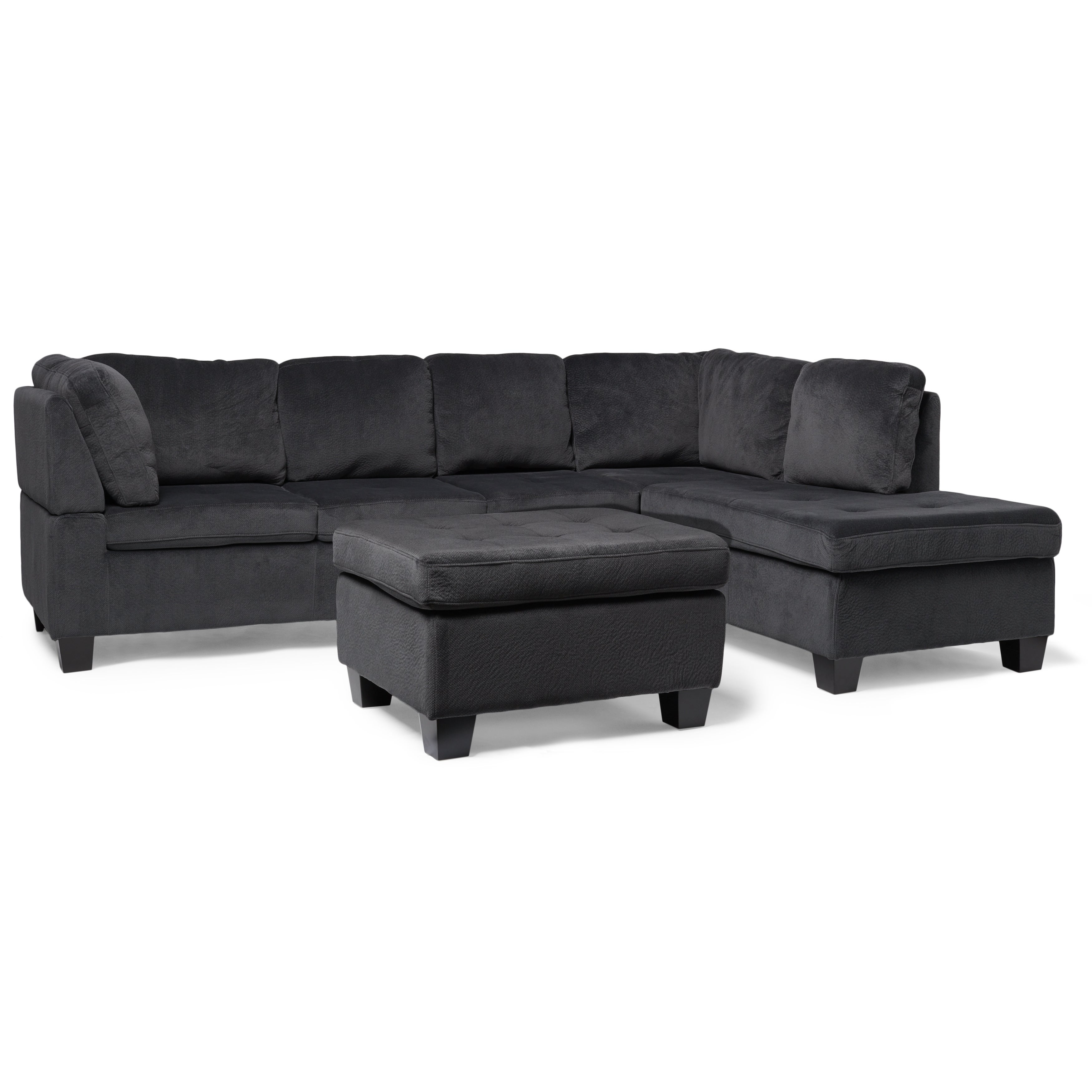 Canterbury 3 Piece Fabric Sectional Sofa Set By Christopher Knight Home  (Option: Charcoal