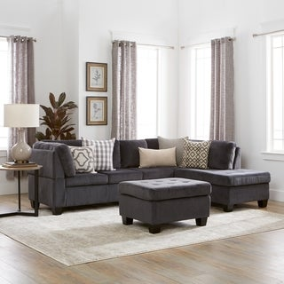 canterbury 3piece fabric sectional sofa set by christopher knight home - Grey Tufted Sofa
