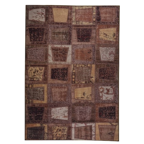 Handmade Printed Bursa Brown Vintage Print Rug (India) - 2' x 3'