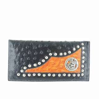 LL Fashion Women's Leather Bifold Wallet with Star Metal Emblem in Black