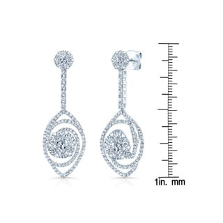 14k White Gold 3 1/5ct TDW Tear Drop Diamond Earrings (H-I, SI1-SI2)