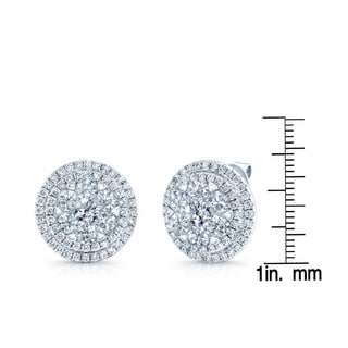 14k White Gold 4 1/3ct TDW Double Halo Diamond Earrings (H-I, SI1-SI2)