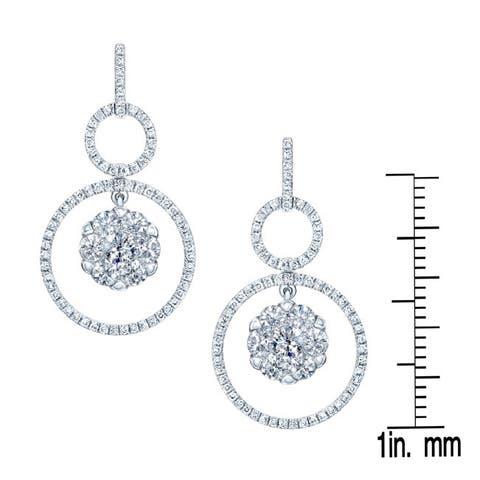 14k White Gold 2ct TDW Double Pave Circle Diamond Earrings