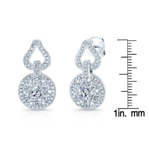 14k White Gold 2 1/4ct TDW Vintage Inspired Diamond Earrings