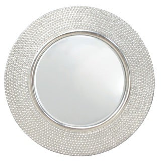 Selections by Chaumont 32-inch Hammered Silver Round Mirror