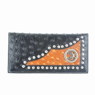LL Fashion Women's Leather Bifold Wallet with Twin Guns Metal Emblem in Black