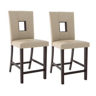CorLiving Bistro Dining Chairs in Woven Cream Fabric, Set of 2