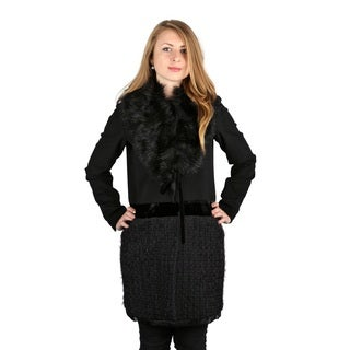 Vera Wang Woman's Black Faux Fur Vera Mixed Media Wool Coat