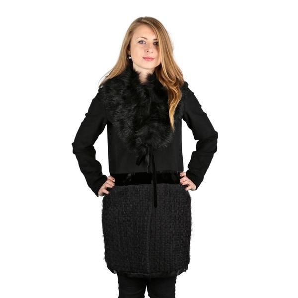 Vera Wang Woman's Black Faux Fur Vera Mixed Media Wool Coat