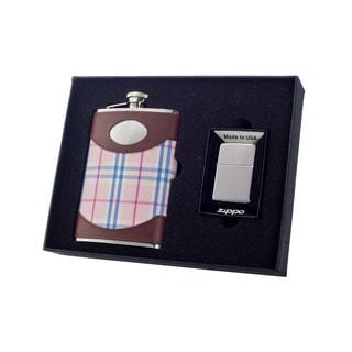 "Visol ""Lola"" 8oz Flask and Zippo Lighter Gift Set"