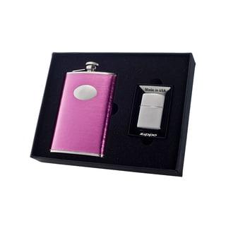 "Visol ""Marilia"" 8oz Flask and Zippo Lighter Gift Set"