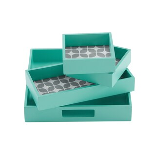 Intelligent Design Elena 4-Piece Decorative Tray Set - 2 Color Options