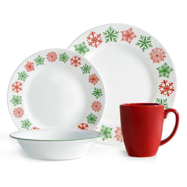 corelle impressions cheerful flurry 16 piece dinnerware set free shipping today overstock. Black Bedroom Furniture Sets. Home Design Ideas