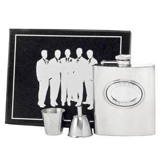 Visol 5 Stars Best Man Embossed Stainless Steel Legion Flask Gift Set - 8 ounces