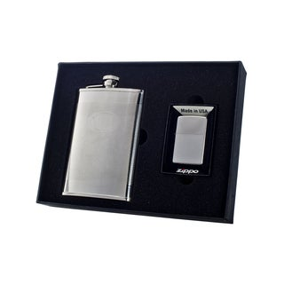 "Visol ""Mark"" 8oz Flask and Zippo Lighter Gift Set"
