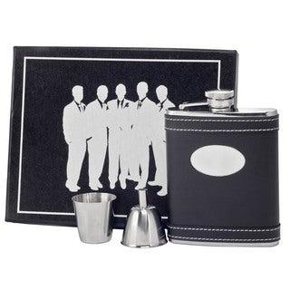 Visol Marlon Black Leather Legion Flask Gift Set - 6 ounces