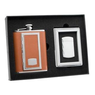Visol SP Brown Cigarette Case Flask and Visol SP Fireball Silver Cigarette Lighter Set