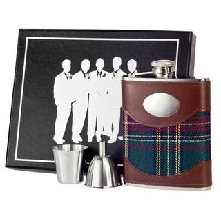 Visol Edinburgh Plaid & Leather Legion Flask Gift Set - 6 ounces
