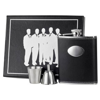 Visol Eclipse Black Leather Legion Flask Gift Set - 6 ounces