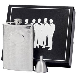 Visol Cross Hatch Engraved Stainless Steel Century II Flask Gift Set - 8 ounces