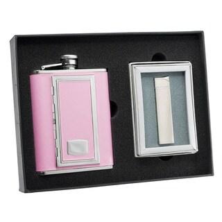 Visol SP Pink Cigarette Case Flask and Visol SP Cyrillia Satin Chrome Traditional Flame Lighter Set