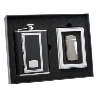 Visol SP Black Cigarette Case Flask and Visol SP Nolet Gunmetal Torch Flame Lighter Set