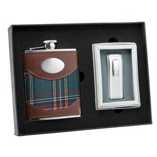 Visol Edinburgh Plaid Leather Flask and Visol Edinburgh Mako Satin Silver Torch Flame Lighter Set