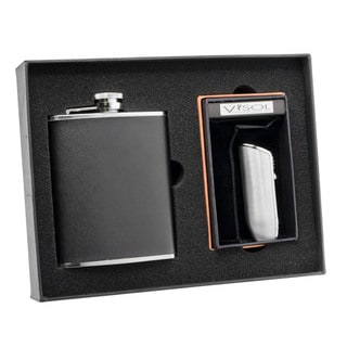 Visol Ano Black Leather Flask and Visol Ano Ternion Silver Triple Torch Flame Lighter Set