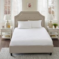 Sleep Philosophy All Natural Cotton Percale Quilted Mattress Pad with Spandex Snug-on Slip Fit Skirt - White