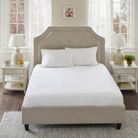 Sleep Philosophy All Natural CottonPercale Quilted Mattress Pad with Spandex Snug-on Slip Fit Skirt - White