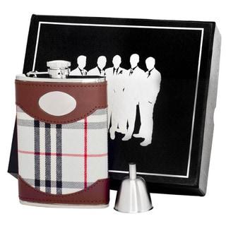 Visol Tobias Leather & White Plaid Century II Flask Gift Set - 8 ounces (Option: White)