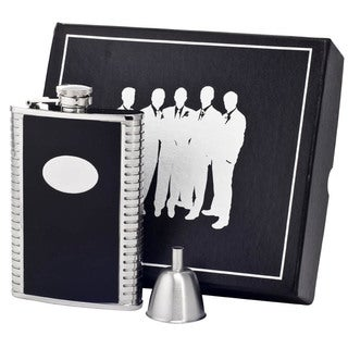 Visol Tux Black Leather and Stainless Steel Century II Flask Gift Set - 8 ounces