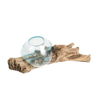 Hand-blown Glass Vase on Driftwood (Indonesia)