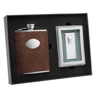 Visol Cowboy Brown Leather Flask and Visol Cowboy Maximus Matte Chrome Torch Flame Cigar Lighter Set
