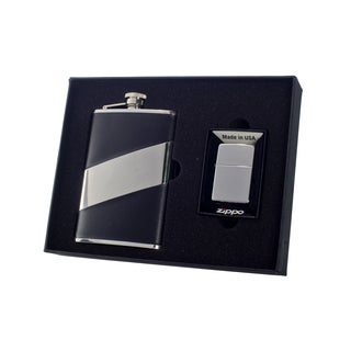 """Visol """"Descent"""" 8oz Flask and Zippo Lighter Gift Set"""